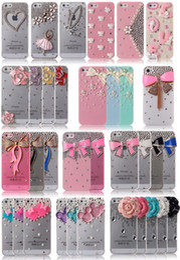 Wholesale Diy Hard Iphone Cases - Luxury Flower Handmade DIY Crystal Diamond Rhinestone Hard Cover Case For iPhone 5 5s iPhone4 4s iPhone6 6 Plus
