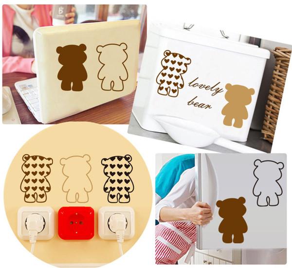 Nouveau ours bricolage amour belle maison mode réfrigérateur commutateur autocollants multifonctions stickers muraux papier peint livraison gratuite