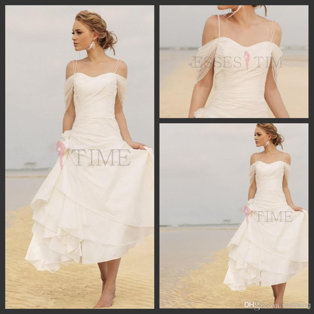 Discount Short Casual Beach Wedding Dresses 2014 Fall