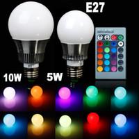 Wholesale Led Colour Changing Bulbs - Newest 5 Piece 5w 10w E27 LED light RGB LED bulb 900 Lumen Colour Change E14 Globe Spot Light LED Lamp + Romote controller Christmas Gifts