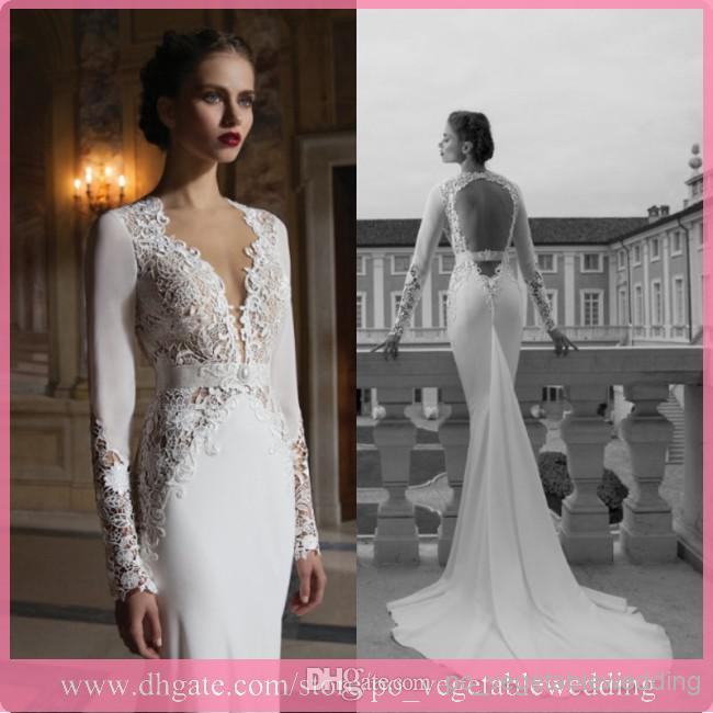 Elegant Berta Bridal Gowns Backless V Neck Mermaid Long Sleeve ...