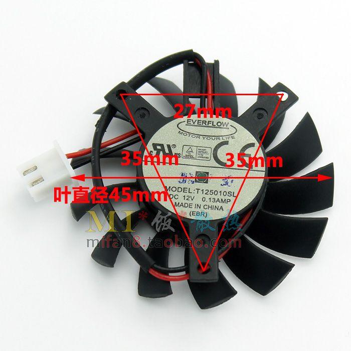 مروحة بطاقة الرسومات الأصلية لهسي GS6 انه EVERFLOW T125010SL شين 45MM قطرها حفرة قطرها 27 * 35 * 35MM