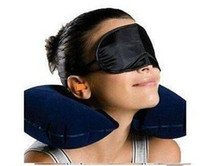 Wholesale Air Dagger - Free shipping Travel Kit Set 3-In-1 Neck Air Pillow + Ear Plug + Eye Mask Randomly color sent #LX246