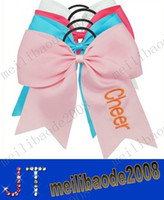 """Wholesale Blue Cheer Bows - free shipping 7"""" Cheerleading Hair Bow Cheerleader Hair bow Cheer bow for girls Ponytail Holder Embroidery Hair Bow 5 colors MYY1315"""