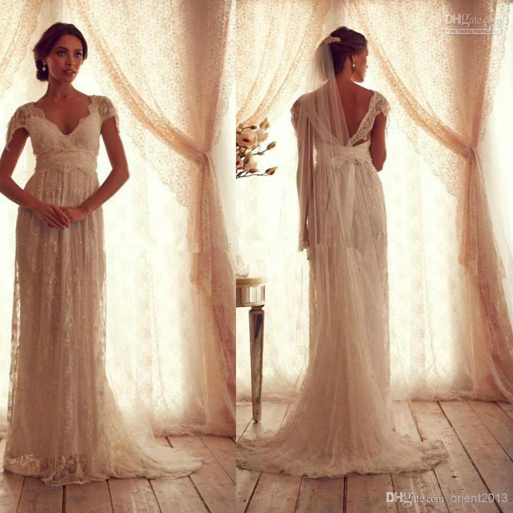 Discount Vintage Lace Wedding Dress With Short Sleeves Anna Campbell Gossamer V Neck Empire