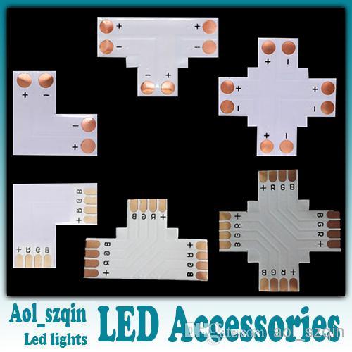 100pcs L T + cruz en forma de conector de luz de tira llevada para 8mm 3528 solo color 10mm 5050 solo color o tira llevada RGB opcional