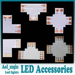 Wholesale Led Light Strip Connector L Shape - 100pcs L T + cross shaped led strip light connector for 8mm 3528 single color 10mm 5050 single color or RGB led strip optional