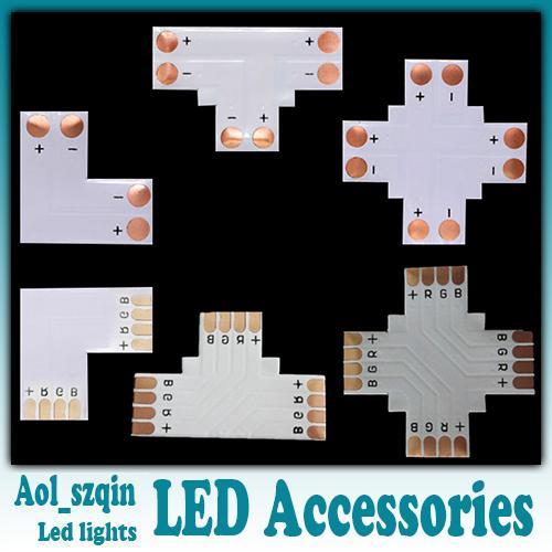 100 adet L T + çapraz şekilli 8mm 3528 için led şerit ışık konektörü tek renk 10mm 5050 tek renk veya RGB led şerit opsiyonel