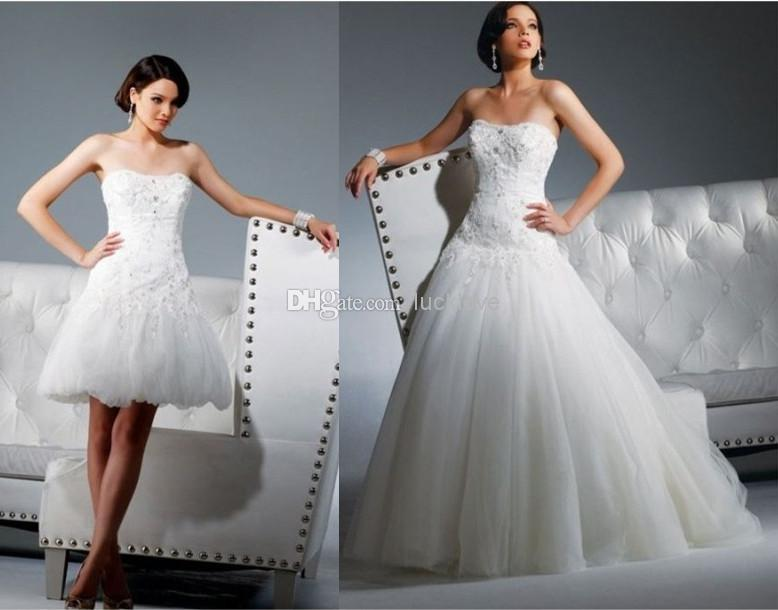 Lace Applique Beads Tulle Strapless Ball Gown 2 In 1 Wedding Dress ...