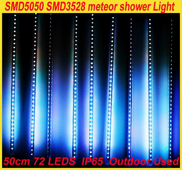 Wholesale Free shipping SMD 3528 DC12 RGB LED 5050 Lamp meteor Light shower Lights 1set 10 Tube 50cm 60LEDs Outdoor Tree Decoration