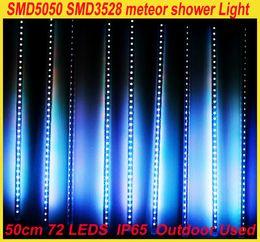 Venta al por mayor envío gratis SMD 3528 DC12 RGB LED 5050 lámpara meteoro luz luces de la ducha 1set 10 Tube 50cm 60LEDs decoración de árboles al aire libre desde fabricantes