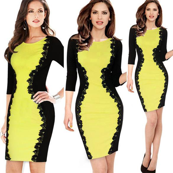 Yellow and blackdress lace
