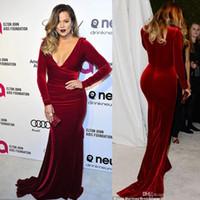 Wholesale Khloe Kardashian Evening Dresses - Burgundy Long Sleeves Oscar Party Evening Dresses Sexy V-Neck Mermaid Velvet Red Carpet Celebrity Dresses Of Khloe Kardashian Party Gowns