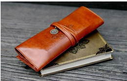 Wholesale Twilight Pens Pencils - New Fashion Moon Synthetic Vintage Twilight Leather Pencil Cosmetic Case Pen Pouch Brown