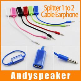 Wholesale Mp3 Audio Splitter - Splitter 1 to 2 Cable 3.5mm Male To 2* 3.5mm Female Earphone Y Splitter Adapter Audio Cable cords For MP3 earphone For MP4 For iPhone