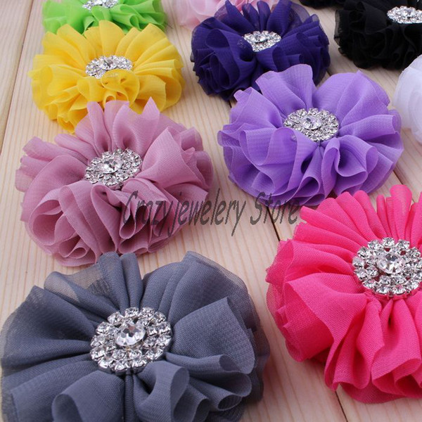 Hot Chiffon Flower With Alloy Drill Headdress flower accessories For Headband Hairpin Hair Accessories Fabric Flower Baby Photography props