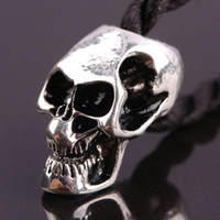 Wholesale Skull Findings - 50pcs Antique Silver plated Enamel Skull Shape Charm European Big Hole Beads Fit Charms Bracelet Chain Jewelry Finding 10x20mm