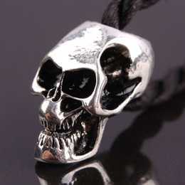 Wholesale silver skull charms - 50pcs Antique Silver plated Enamel Skull Shape Charm European Big Hole Beads Fit Charms Bracelet Chain Jewelry Finding 10x20mm