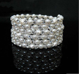 Wholesale Alloy Pearl Bracelet - STOCK 2018 Fashion Peals Crystals Free Shipping Cheap Bracelet Wedding Bridal Bracelets Jewerly Cheap Free Shipping