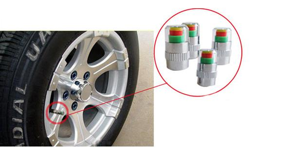 2.4 Bar/36PSI Car Tyre Pressure Alert Monitor Detecting Indicator Auto Tire Valve Stem Caps Visible Car Accessories