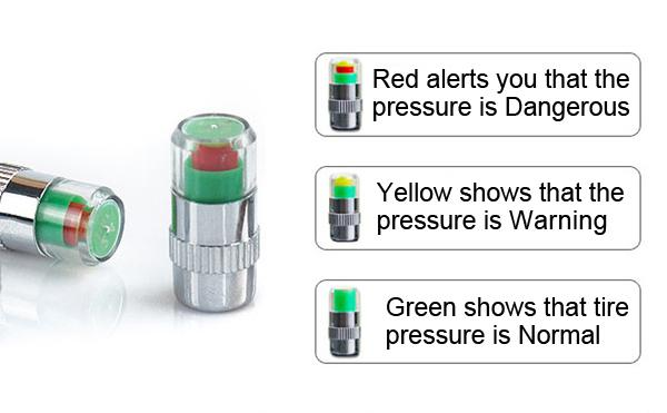 Car Auto Pressure Monitor Valve Caps Tire Valve Stem Cap 2.4 Bar Sensor Indicator 36 PSI Eye Alert