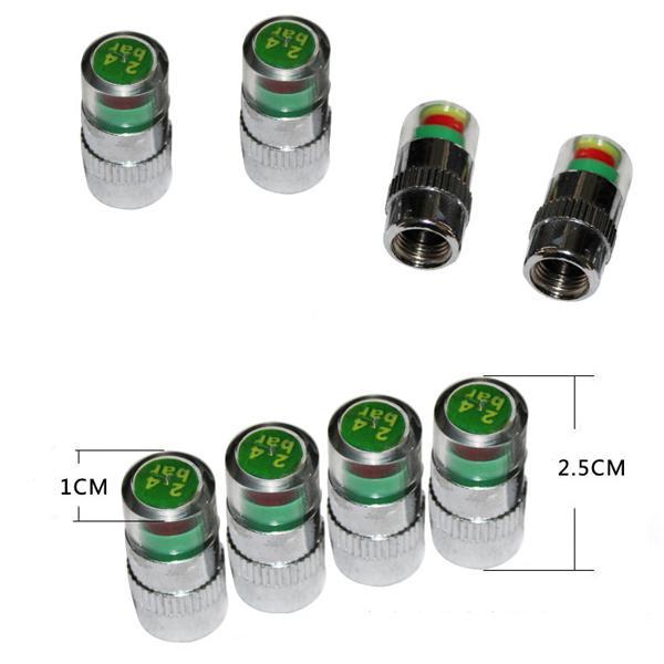 2.4 Bar / 36PSI Monitoraggio allarme pressione pneumatici auto Indicatore di rilevamento Tappi stelo valvola pneumatici auto Accessori auto visibili