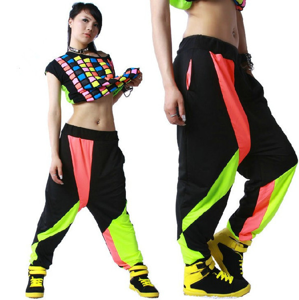 best selling FASHION WOMENS CONTRAST BLACK COLOR HIP HOP BELLY DANCE HAREM PANTS SWEATPANTS Girls Streetwear baggy wear ladies cheap trousers clothing