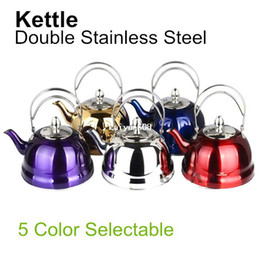Steel Induction Canada - Stainless Steel Water Kettle Creative Luxurious Teapot Composite Bottom For Induction Cooker Kitchenware Tools FREE SHIPPING