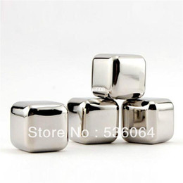 Wholesale Stainless Steel Ice Cubes Glacier - 4pcs lot Stainless Steel Whiskey Stones Ice Cubes Soapstone Glacier Cooler Stone Free Shipping