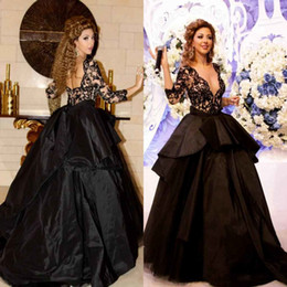 Wholesale Illusion Plugs - 2017 Black Plugging V Neck Dubai Fiesta Prom Dresses Formal Evening Dress Backless Long Sleeves Taffeta Celebrity Gowns Graduation Gowns