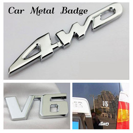 Wholesale Driving Wheel - Car Metal Chrome 4WD Displacement Emblem Badge All Wheel Drive Auto sticker FREE SHIPPING