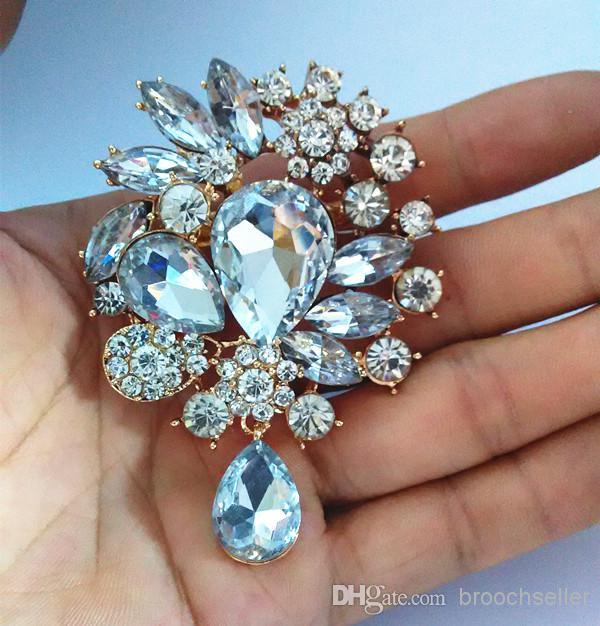 3 pollici tono oro strass trasparente cristallo grande goccia d'acqua vetro ciondola spilla nuziale spille da sposa