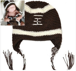 Wholesale Football Photo Prop - Crochet baby football hat Photo Props Animal hat pattern handmade beanie Todder Infant Winter caps freeshipping