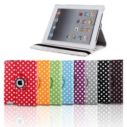 Ipad luftpunktfall online-5 teile / los Dot Leder 360 Grad Smart Standplatz-fall-abdeckung Für Neue iPad234 / iPad air / iPd mini