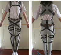 Wholesale Costumes Leather Harness - Attack on Titan Shingeki No Kyojin Leather Belts and Harness,Mikasa Ackerman Survey corps Mobile straps Cosplay costume