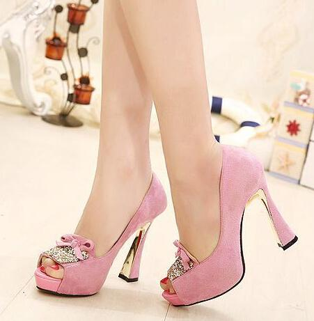 New Hot Sale Glitter Pink High Heel Shoes Women's Peep Toe Heels ...
