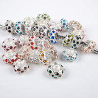Wholesale Charms Mix Zinc - 100 Pcs 11MM Mixed Color Crystal Rhinestone Silver plated Big Hole Beads Fit European Charms Bracelets Jewelry Findings