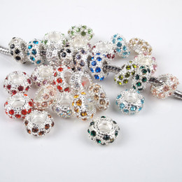 Wholesale Crystal Elements Jewelry - 100 Pcs 11MM Mixed Color Crystal Rhinestone Silver plated Big Hole Beads Fit European Charms Bracelets Jewelry Findings