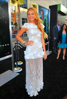Wholesale New Celebrity Gossip - Hot ! New 2015 Gossip Girl Blake Lively Dress White Tulle Flower Appliques Floor Length Evening Dresses Special Occasion Celebrity Gowns