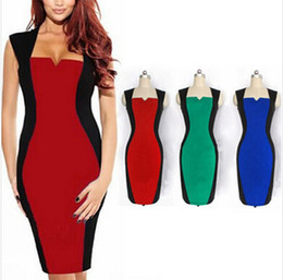 Wholesale Optical Summer Dress - Blue,GREEN,RED, Free shipping 2013 New Womens Fashion Summer Optical Illusion Colorblock Cap Sleeve Party Bodycon Work Sheath Pencil Dress