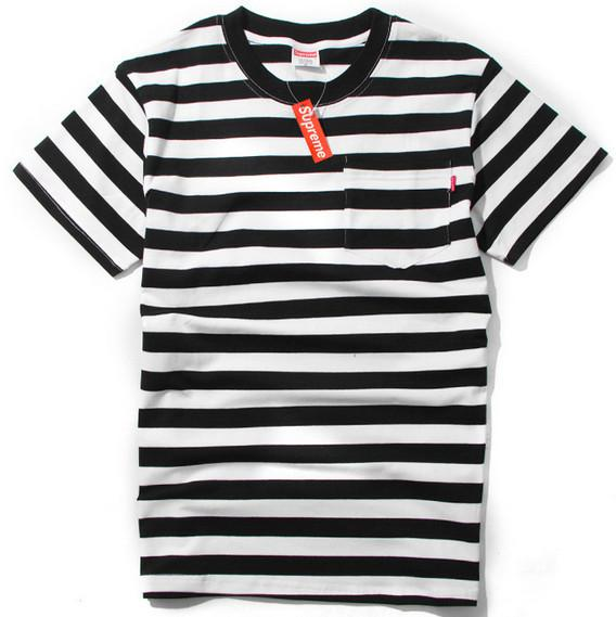 2014 Men Causal Shirt New Mens Black White Red Striped Stripe ...