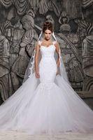 Wholesale Beautiful Dresse - Wholesale - Custom Made 2014 Beautiful Court Train Illusion Transparent Back Beaded Lace Mermaid Wedding Dresse Custom Made wedding dresses