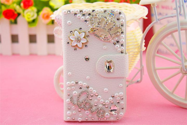 Luxury Cute Diamond Bling Metal Flower Flip Pu Leather