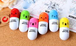 Wholesale Pen Pills - Wholesale Office supplies Retractable pen Ball point cartoon Telescopic face Capsule pills Pen
