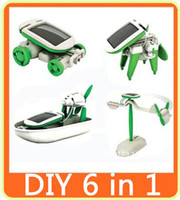 Wholesale Solar Fan Boat - New DIY 6 in 1 Solar Educational Kit Toy Boat Fan Car Robot Power Moving Dog B017 FREE SHIPPING