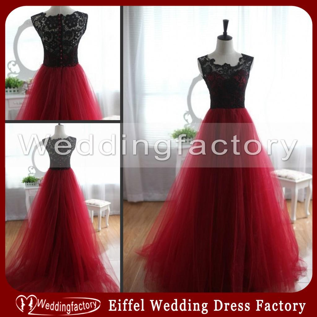Discount Unique Black And Red Wedding Dresses A Line Scoop Lace ...