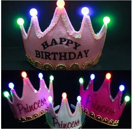 Free Shipping Kids Toys Prince Princess Birthday LED Flash Hairbands Crowne Children Christmas Gift Birthday Party Decoration
