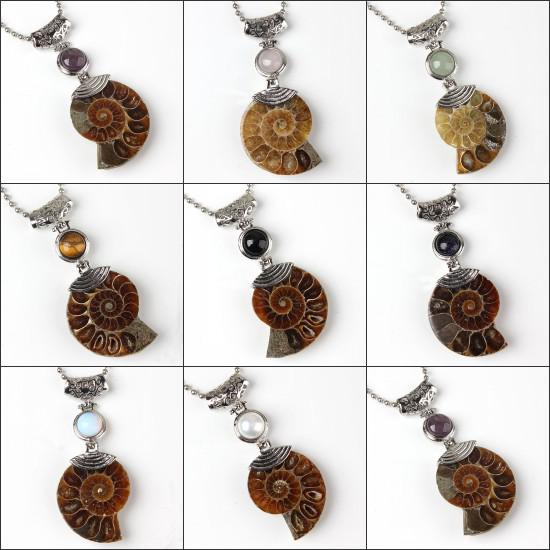 Wholesale 10Pcs Charm Silver Plated Natural Ammonite Fossil With Different Stone Pendant Beads Pendant Jewelry For Necklace