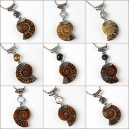 Wholesale Different Stones Necklaces - Wholesale 10Pcs Charm Silver Plated Natural Ammonite Fossil With Different Stone Pendant Beads Pendant Jewelry For Necklace
