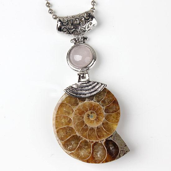 Wholesale Charm Silver Plated Natural Ammonite Fossil With Different Stone Pendant Beads Pendant Jewelry For Necklace